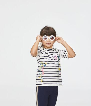 Tee-shirt enfant fille beige Coquille / bleu Abysse