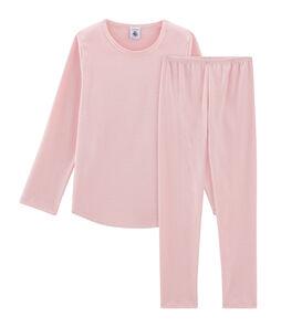 Meisjespyjama van gebreide stof roze Charme / wit Marshmallow