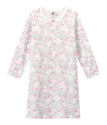 Chemise de nuit fille manches longues imprimée blanc Ecume / blanc Multico