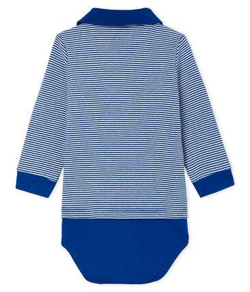 Body polo rayure milleraies bébé garçon bleu Limoges / blanc Marshmallow