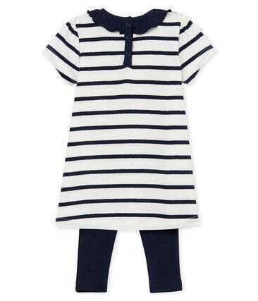 Gestreept jurkje met korte mouwen voor babymeisjes en legging