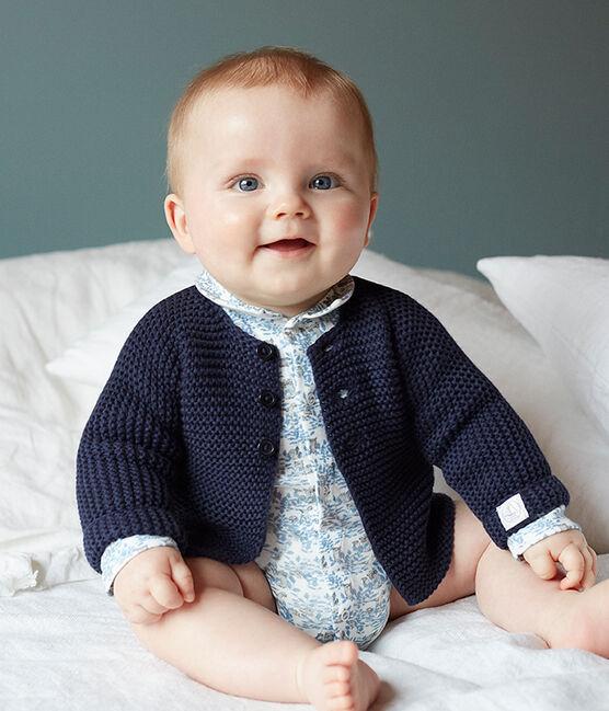 Body naissance manches longues bébé garçon en côte blanc Marshmallow / bleu Toudou
