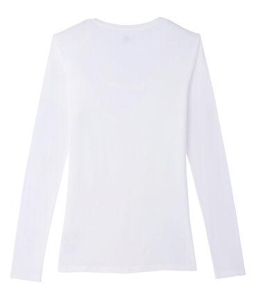 T-shirt met lange mouwen danserskraag vrouwen wit Marshmallow