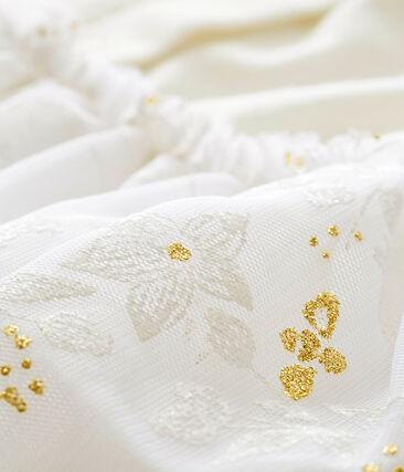 Jurk in tule voor babymeisjes wit Marshmallow / wit Multico