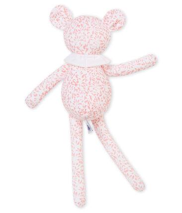 Lammetjesknuffel in jersey met een dessin wit Marshmallow / roze Joli