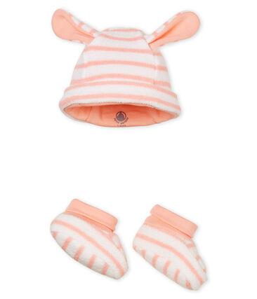 Uniseks muts met pantoffels met strepen voor baby