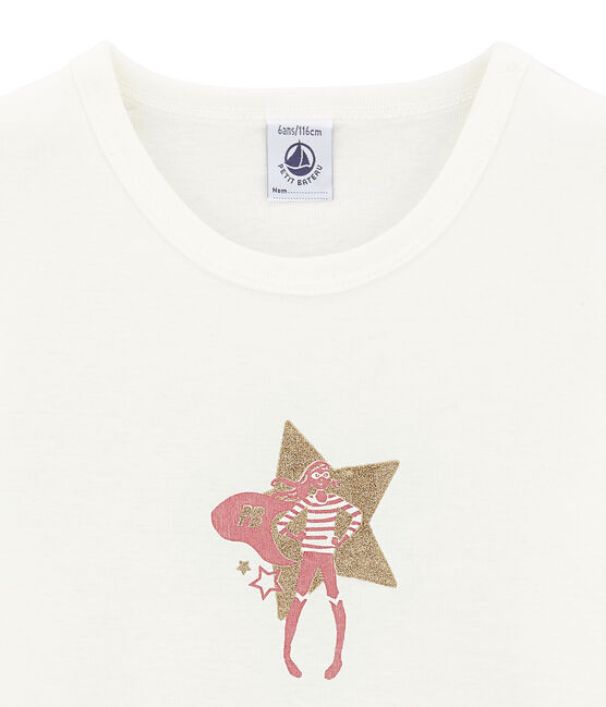 tee-shirt manches courtes petite fille blanc Marshmallow