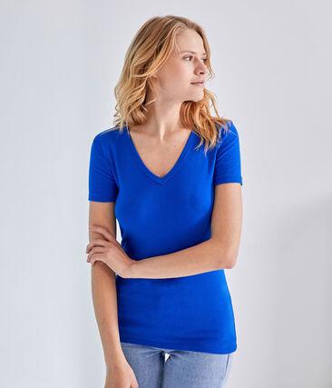T-shirt femme col V en côte originale bleu Perse