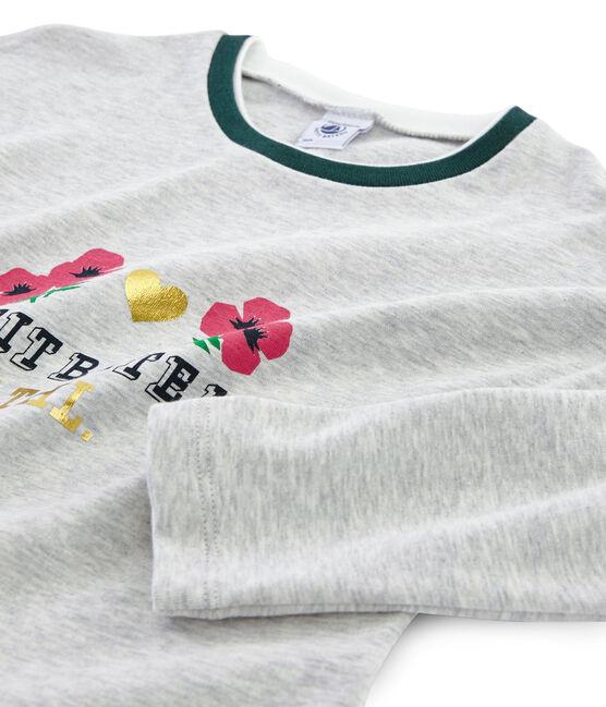 Tee-shirt sérigraphié enfant fille gris Beluga