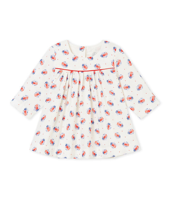 Jurk in tubic met dessin voor babymeisjes wit Lait / wit Multico