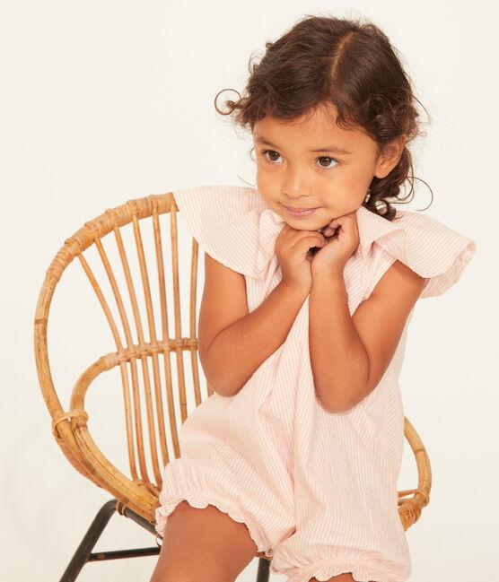 Gestreept kort pakje voor babymeisjes wit Marshmallow / roze Rosako