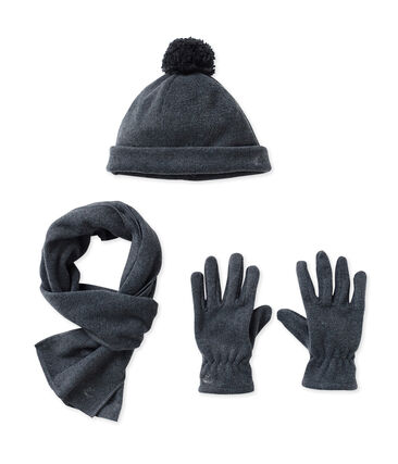Muts, handschoenen en sjaal in fleece grijs City Chine