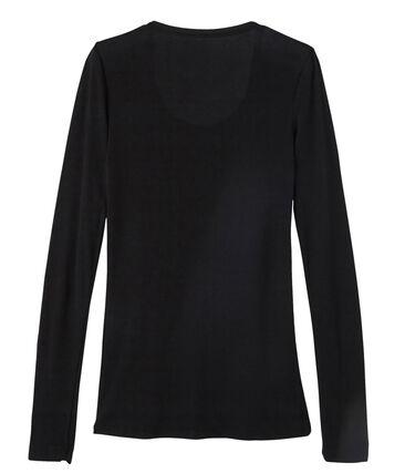 T-shirt met lange mouwen danserskraag vrouwen zwart Noir