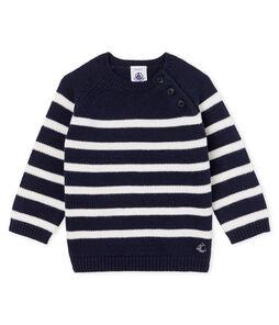 Pull laine et coton rayure bébé garçon bleu Smoking / blanc Marshmallow