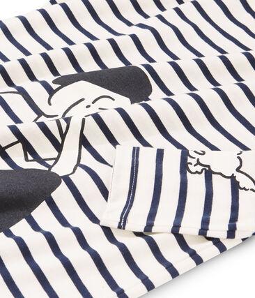 Tee shirt marinière femme beige Coquille / bleu Smoking