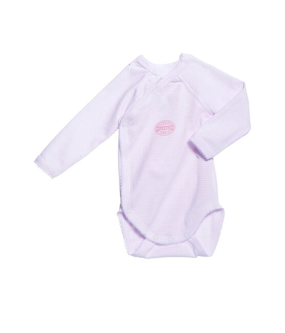 Eerste body voor babymeisjes met lange mouwen en milleraies-strepen roze Vienne / wit Ecume