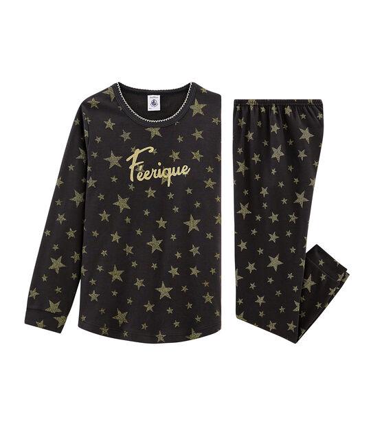 Meisjespyjama van gebreide stof grijs Capecod / geel Or