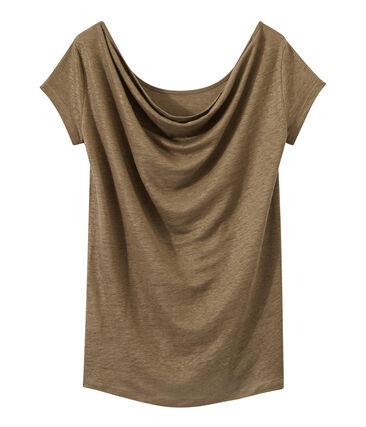 Linnen dames-T-shirt met wijde ruguitsnijding en iriserend effect