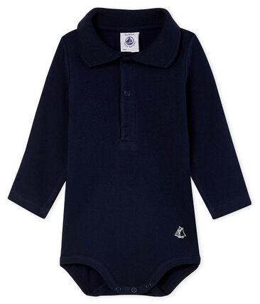 Body met lange mouwen en polokraag babyjongen blauw Smoking