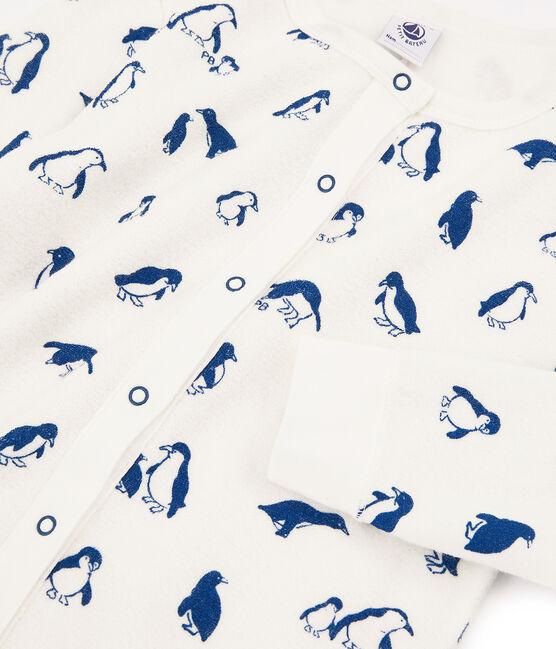 Gemixte pyjama van bouclébadstof, extra warm en geruwd wit Marshmallow / blauw Major