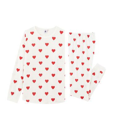 Pyjama fille-femme en côte blanc Marshmallow / rouge Terkuit