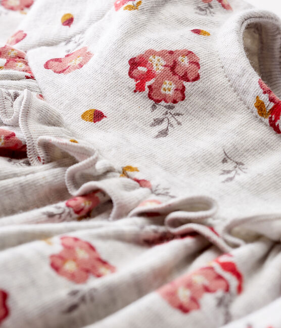Jurk met lange mouwen en print babymeisje grijs Beluga / wit Multico