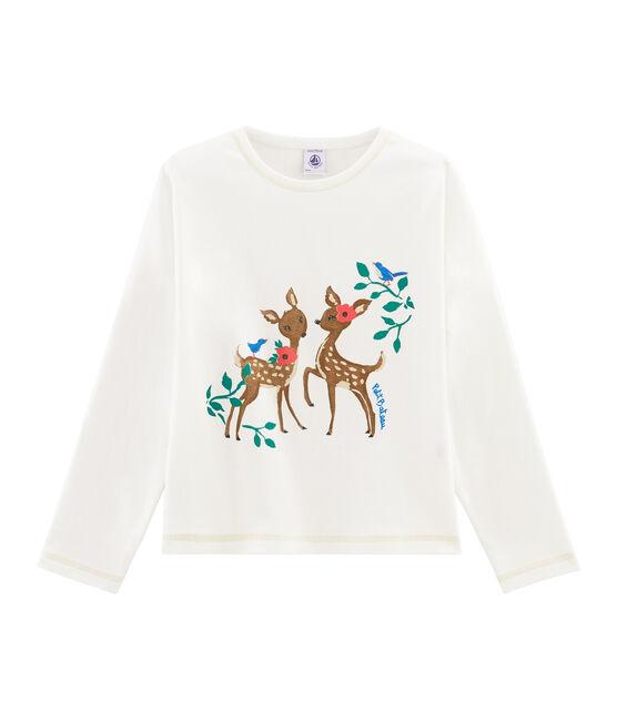 T-shirt met opdruk meisjes wit Marshmallow