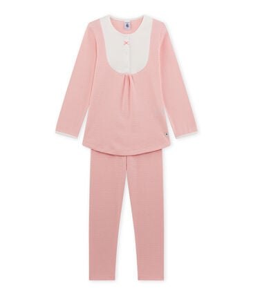 Meisjespyjama met milleraies-strepen roze Gretel / wit Lait