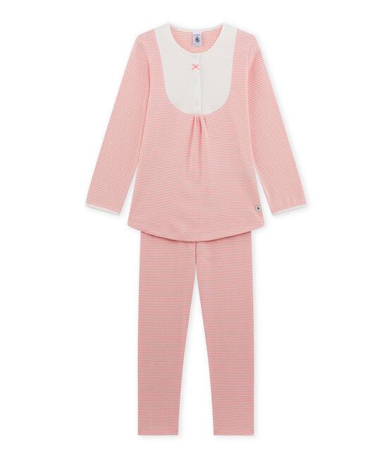 Pyjama fille en milleraies rose Gretel / blanc Lait