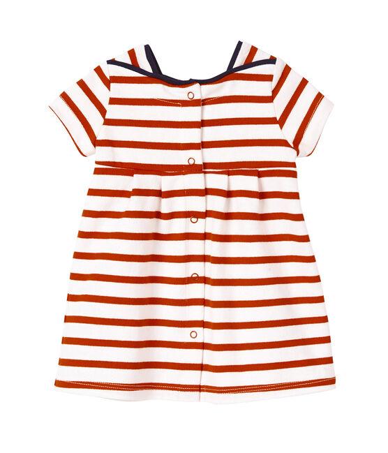Robe bébé fille en jersey lourd rayé wit Lait/rood Peps