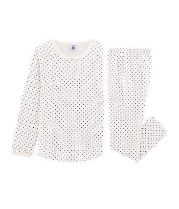 Meisjespyjama van gebreide stof wit Marshmallow / blauw Major