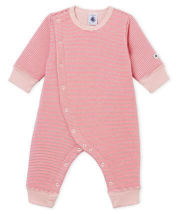 Pyjama zonder voetjes in tubic voor babyjongens roze Cheek / wit Marshmallow