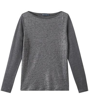 Linnen dames-T-shirt met lange mouwen en iriserend effect