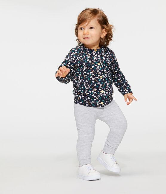 Cardigan babymeisje van tubic met print blauw Smoking / wit Multico