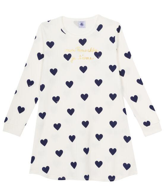 Nachthemd van gebreide stof voor meisjes wit Marshmallow / blauw Medieval