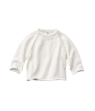 Babyhemdje van wol en katoen wit Lait