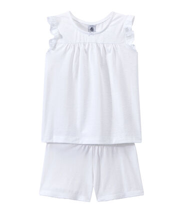 Korte meisjespyjama in fijn katoen wit Ecume