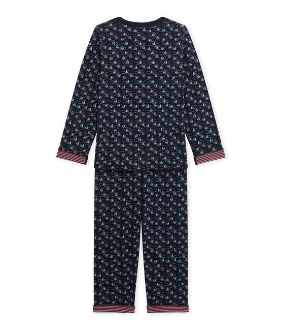 Omkeerbare jongenspyjama blauw Smoking / wit Multico
