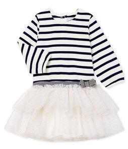 Gestreepte jurk met lange mouwen babymeisje