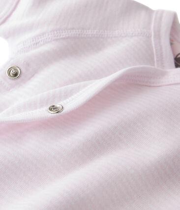 Uniseks geboorte body met milleraies-strepen roze Vienne / wit Ecume