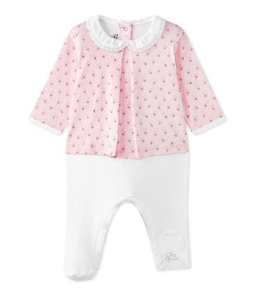 Combinaison guimpe bébé fille bi-matière