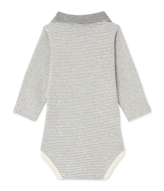 Body bébé garçon en milleraies gris Subway / beige Coquille