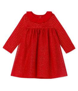 Jurk met lange mouwen twee soorten materiaal babymeisje rood Terkuit / geel Or