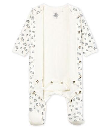 Fluwelen bodyjama babyjongen wit Marshmallow / wit Multico