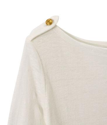 Dames-T-shirt in linnen wit Lait