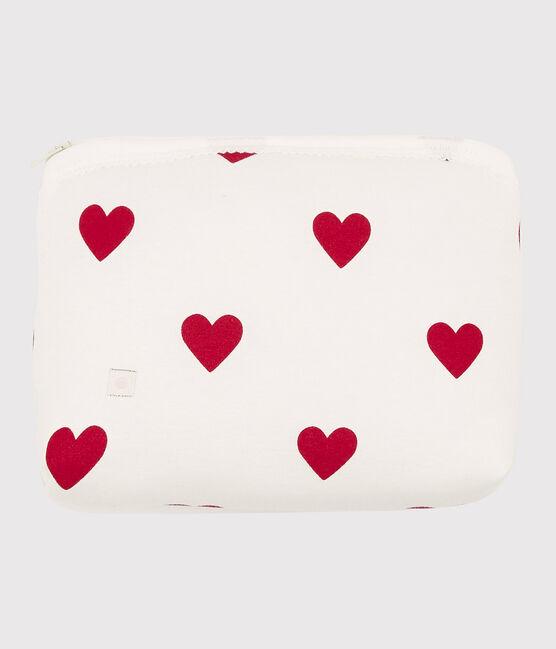 Katoenen toilettas met rode hartjes voor baby's wit Marshmallow / rood Terkuit
