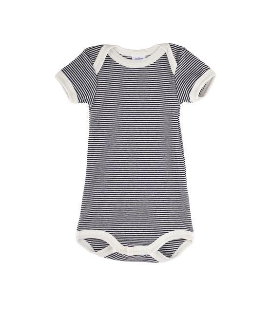 Rompertje met korte mouwen babymeisje - babyjongen blauw Smoking / wit Lait