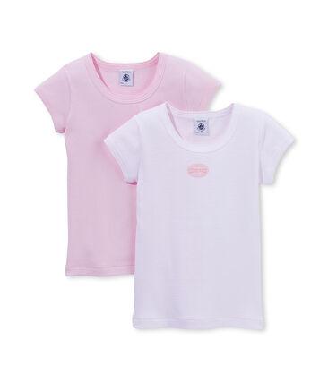 Lot de 2 t-shirts fille uni / milleraies lot .