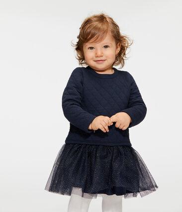Jurk met lange mouwen twee soorten materiaal babymeisje blauw Smoking / wit Marshmallow