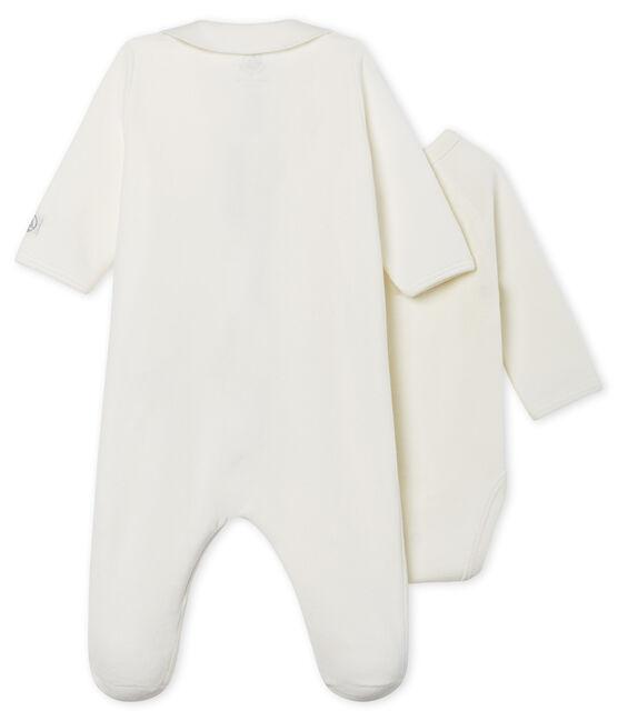 Fluwelen baby slaappakje met rits wit Marshmallow